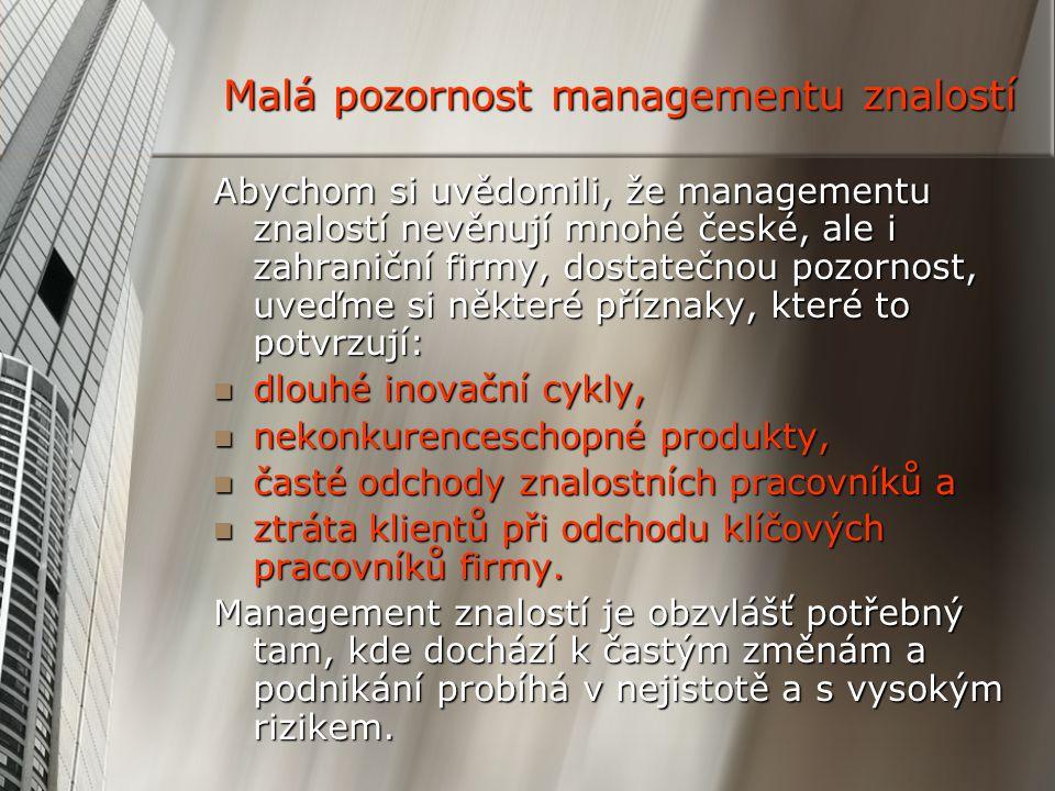 Malá pozornost managementu znalostí