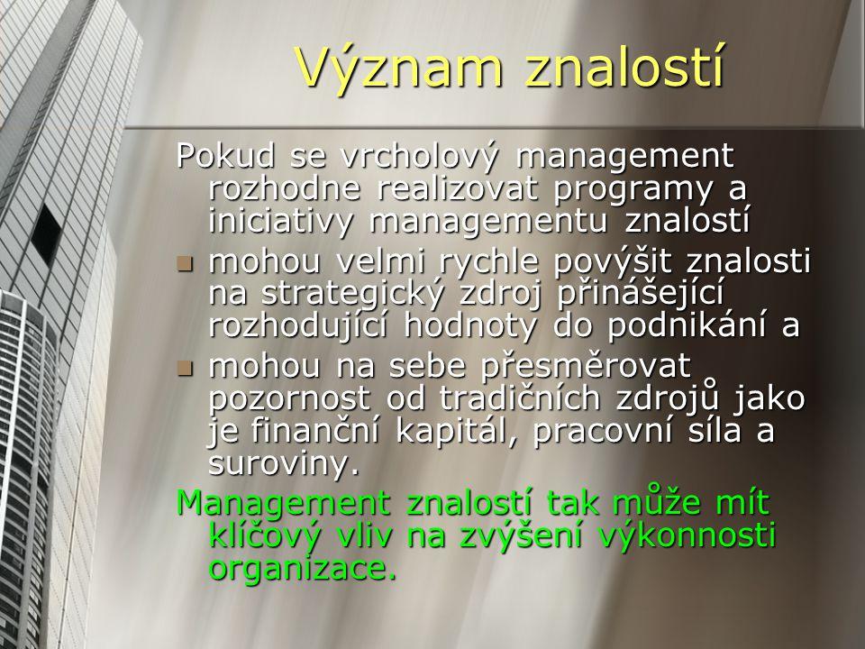 Význam znalostí Pokud se vrcholový management rozhodne realizovat programy a iniciativy managementu znalostí.