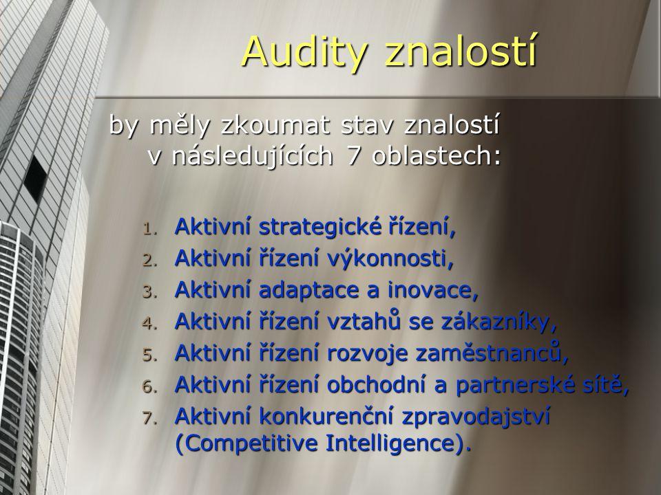 Audity znalostí by měly zkoumat stav znalostí v následujících 7 oblastech: Aktivní strategické řízení,