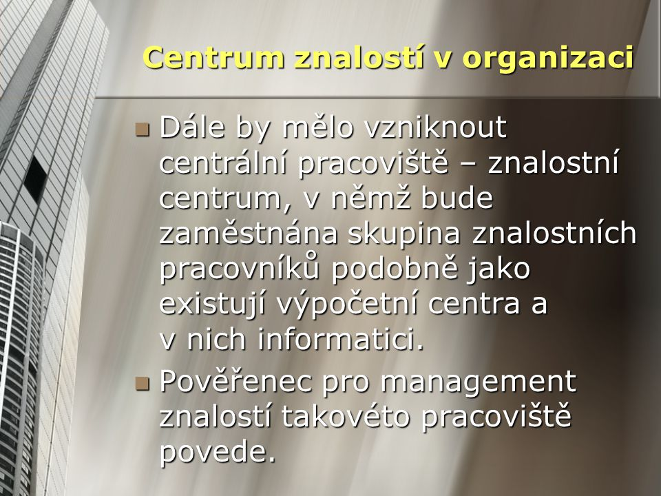 Centrum znalostí v organizaci