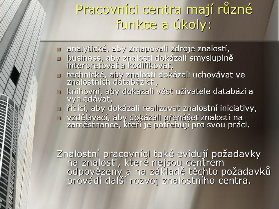 Pracovníci centra mají různé funkce a úkoly: