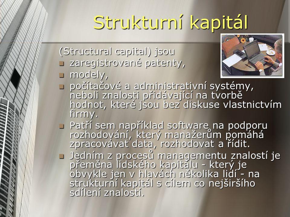 Strukturní kapitál (Structural capital) jsou zaregistrované patenty,