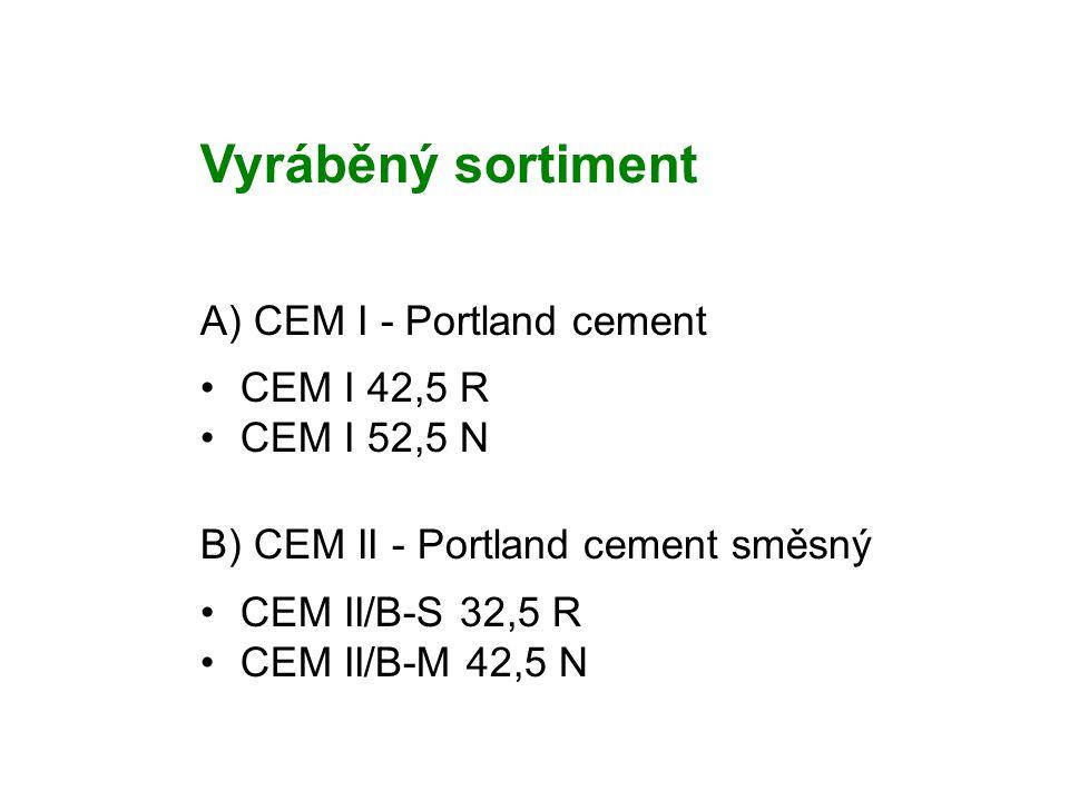 Vyráběný sortiment A) CEM I - Portland cement CEM I 42,5 R