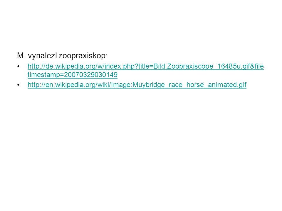 M. vynalezl zoopraxiskop: