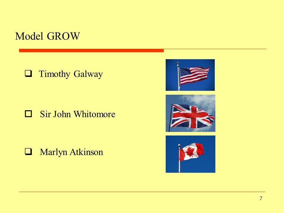 Model GROW Timothy Galway Sir John Whitomore Marlyn Atkinson