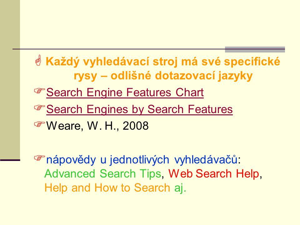 Každý vyhledávací stroj má své specifické rysy – odlišné dotazovací jazyky