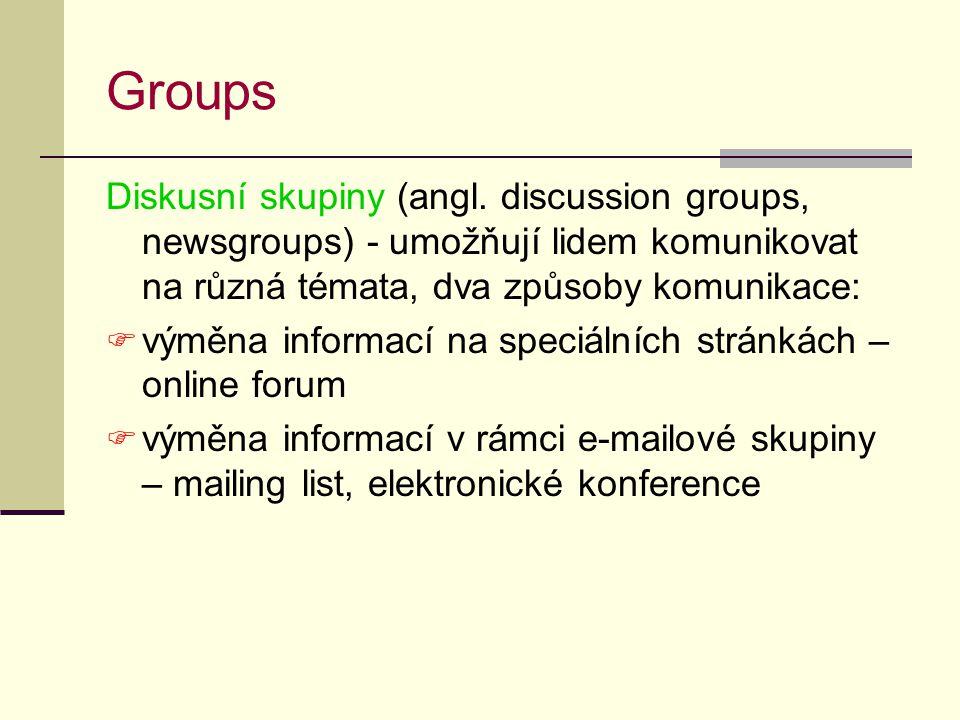Groups Diskusní skupiny (angl. discussion groups, newsgroups) - umožňují lidem komunikovat na různá témata, dva způsoby komunikace: