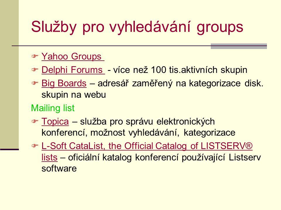 Služby pro vyhledávání groups