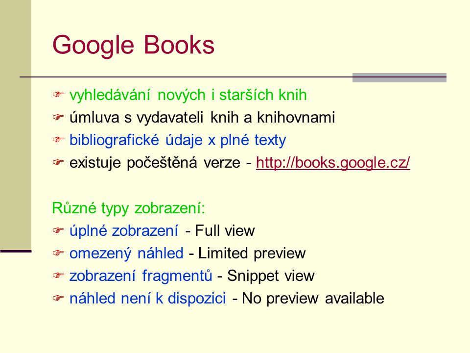 Google Books vyhledávání nových i starších knih