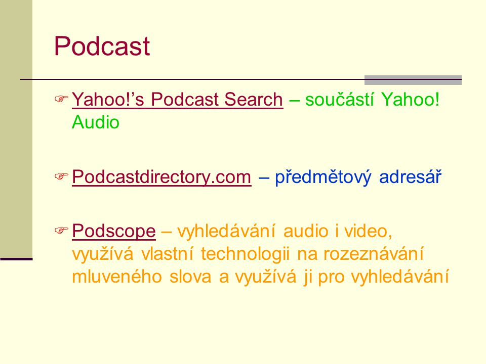 Podcast Yahoo!'s Podcast Search – součástí Yahoo! Audio
