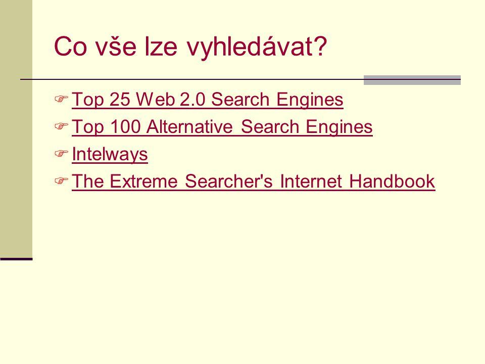 Co vše lze vyhledávat Top 25 Web 2.0 Search Engines