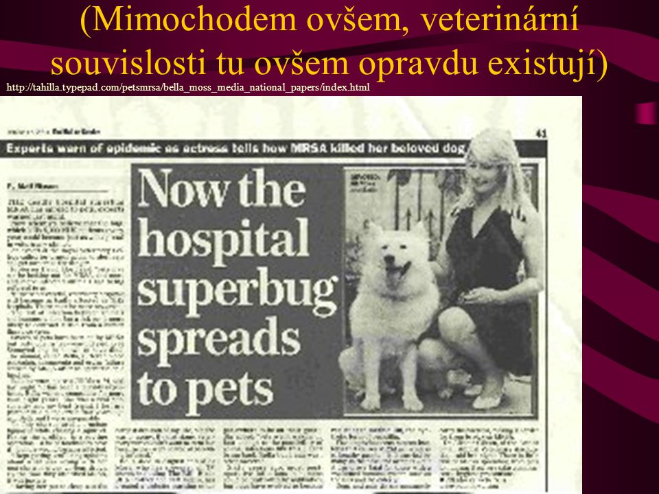 (Mimochodem ovšem, veterinární souvislosti tu ovšem opravdu existují)