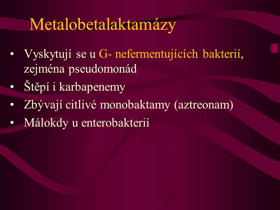 Metalobetalaktamázy Vyskytují se u G- nefermentujících bakterií, zejména pseudomonád. Štěpí i karbapenemy.