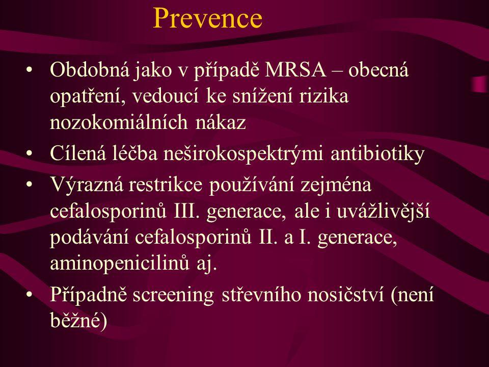 Prevence Obdobná jako v případě MRSA – obecná opatření, vedoucí ke snížení rizika nozokomiálních nákaz.