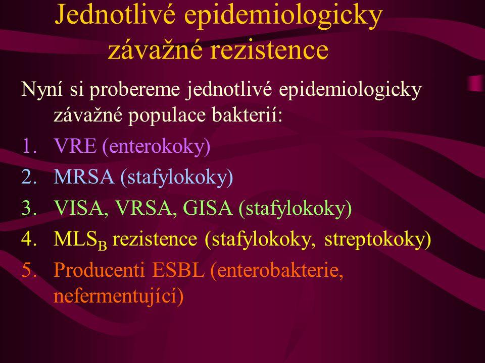Jednotlivé epidemiologicky závažné rezistence