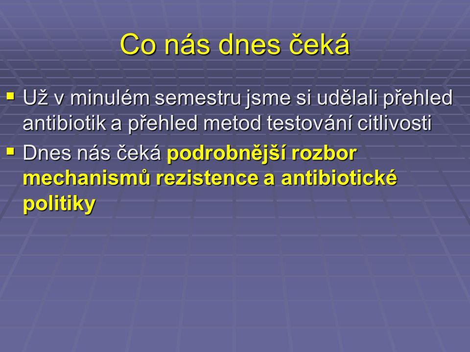 Co nás dnes čeká Už v minulém semestru jsme si udělali přehled antibiotik a přehled metod testování citlivosti.