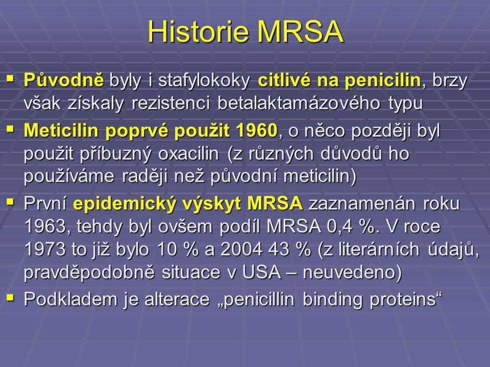 Historie MRSA Původně byly i stafylokoky citlivé na penicilin, brzy však získaly rezistenci betalaktamázového typu.