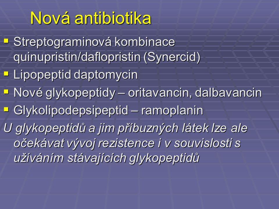 Nová antibiotika Streptograminová kombinace quinupristin/daflopristin (Synercid) Lipopeptid daptomycin.