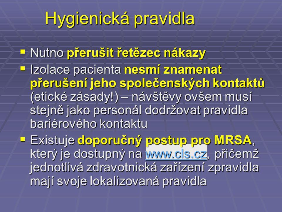 Hygienická pravidla Nutno přerušit řetězec nákazy