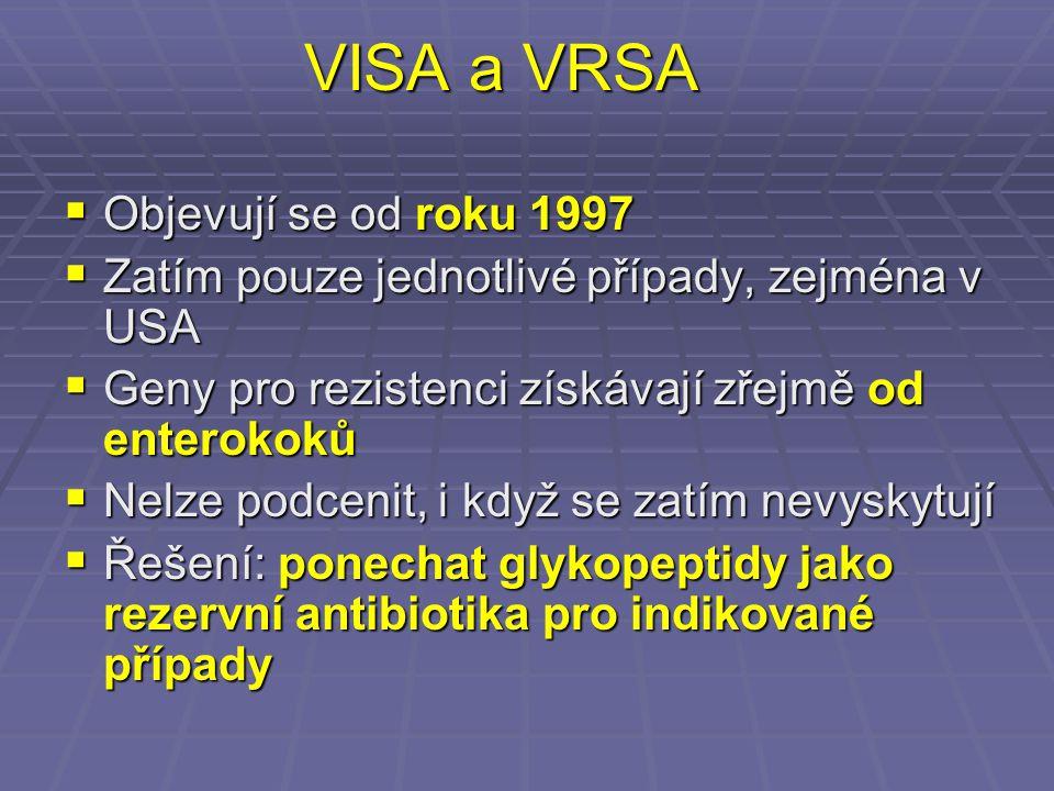 VISA a VRSA Objevují se od roku 1997