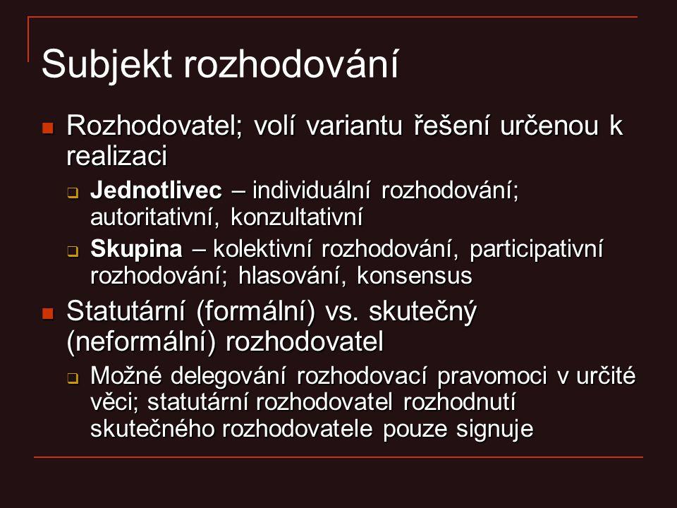 Subjekt rozhodování Rozhodovatel; volí variantu řešení určenou k realizaci. Jednotlivec – individuální rozhodování; autoritativní, konzultativní.