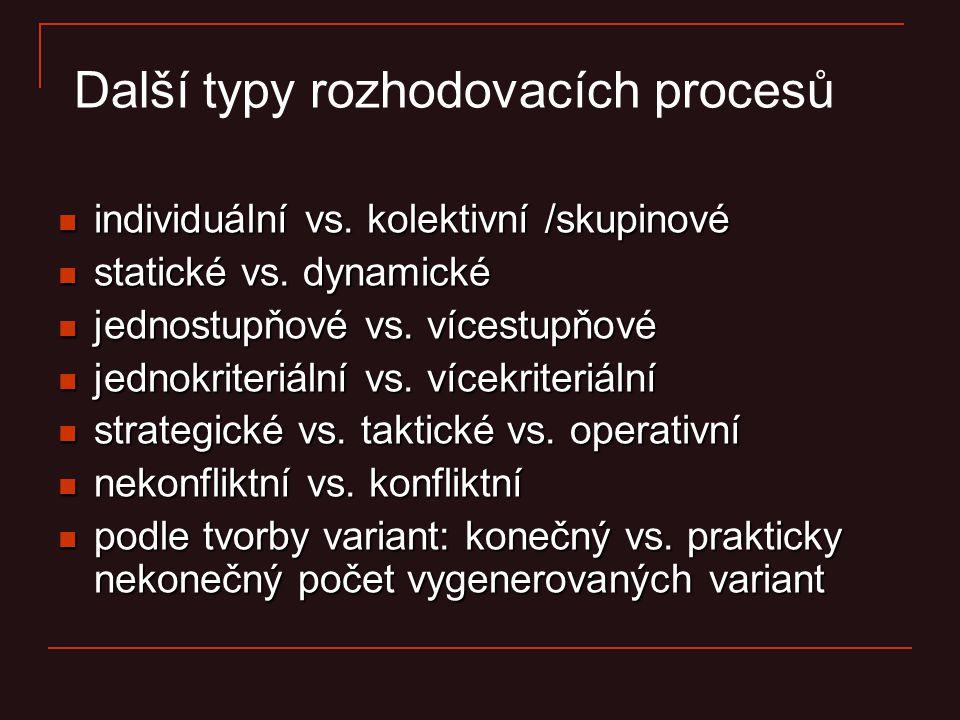 Další typy rozhodovacích procesů