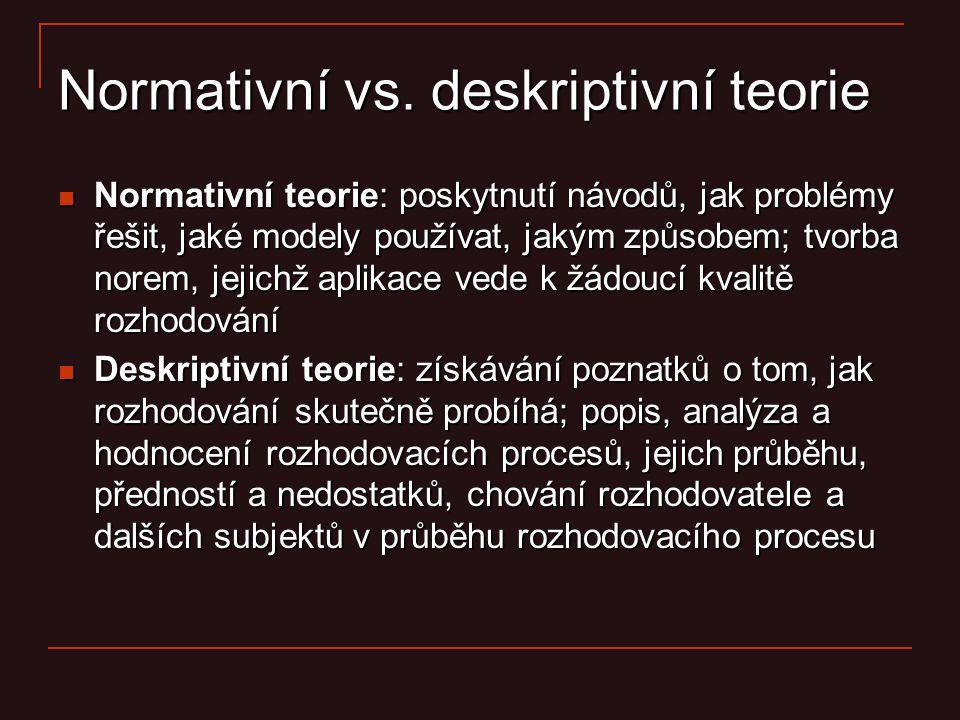 Normativní vs. deskriptivní teorie