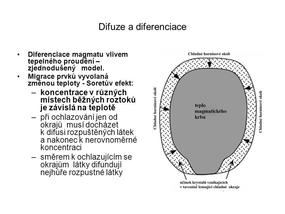 Difuze a diferenciace Diferenciace magmatu vlivem tepelného proudění – zjednodušený model. Migrace prvků vyvolaná změnou teploty - Soretův efekt: