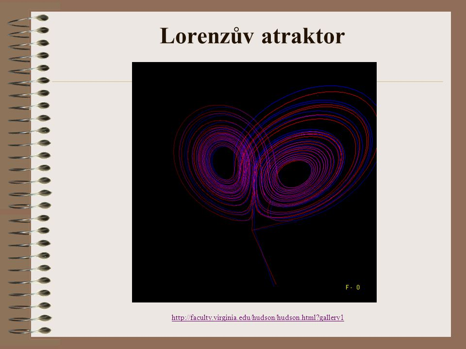 Lorenzův atraktor http://faculty.virginia.edu/hudson/hudson.html gallery1