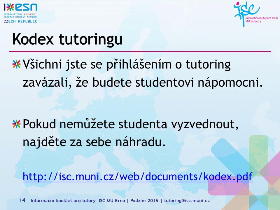 Kodex tutoringu Všichni jste se přihlášením o tutoring zavázali, že budete studentovi nápomocni.