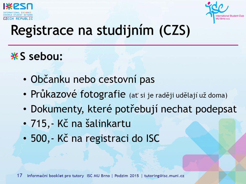 Registrace na studijním (CZS)