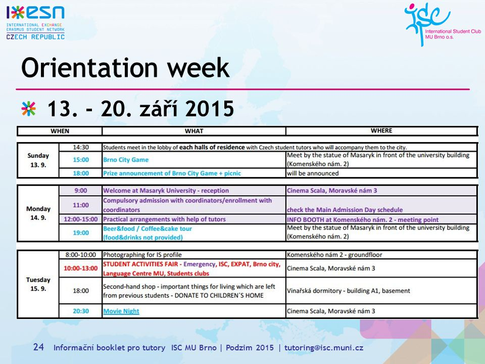 Orientation week 13. - 20. září 2015