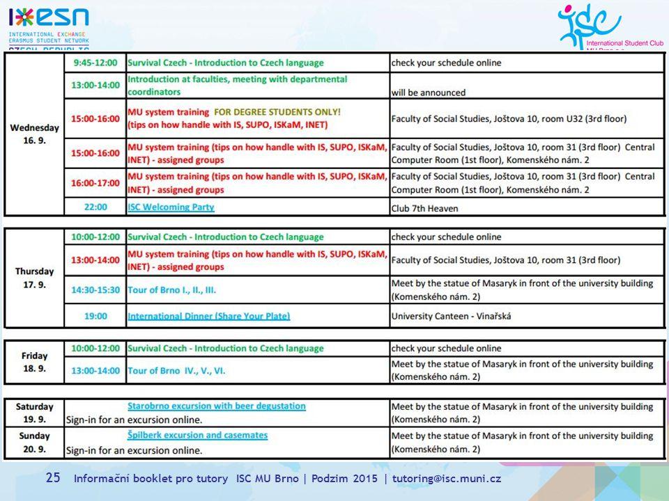 Informační booklet pro tutory ISC MU Brno | Podzim 2015 | tutoring@isc