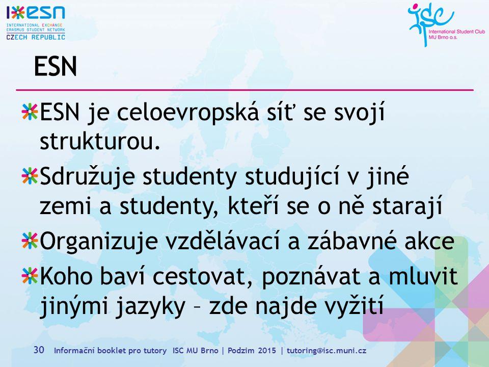 ESN ESN je celoevropská síť se svojí strukturou.