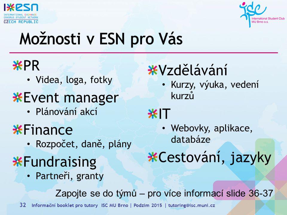 Možnosti v ESN pro Vás PR Vzdělávání Event manager IT Finance