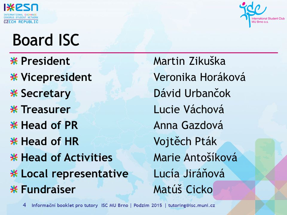 Board ISC President Martin Zikuška Vicepresident Veronika Horáková