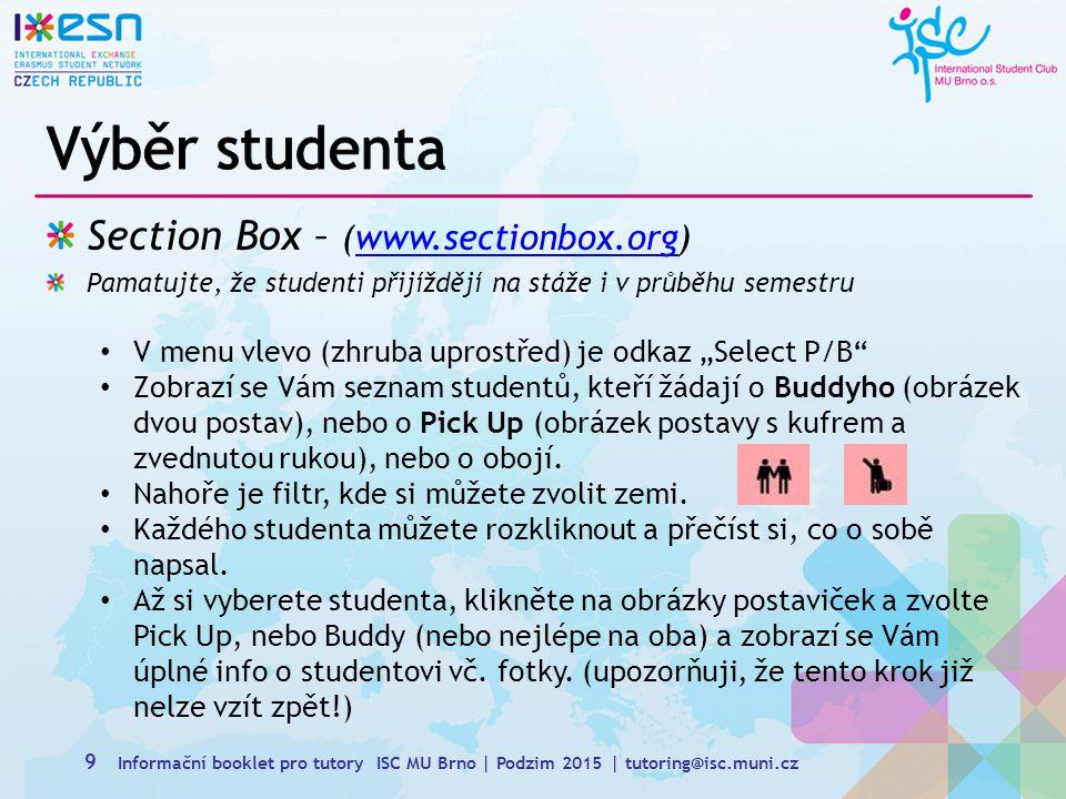 Výběr studenta Section Box – (www.sectionbox.org)