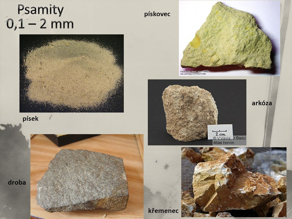 Psamity 0,1 – 2 mm pískovec arkóza písek droba křemenec