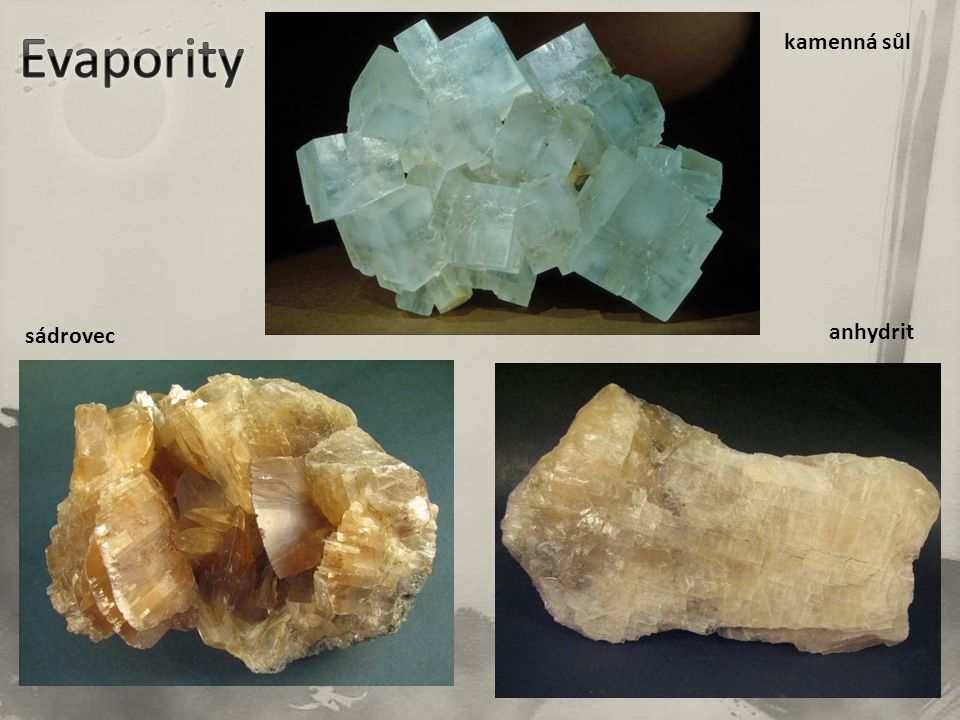 Evapority kamenná sůl sádrovec anhydrit