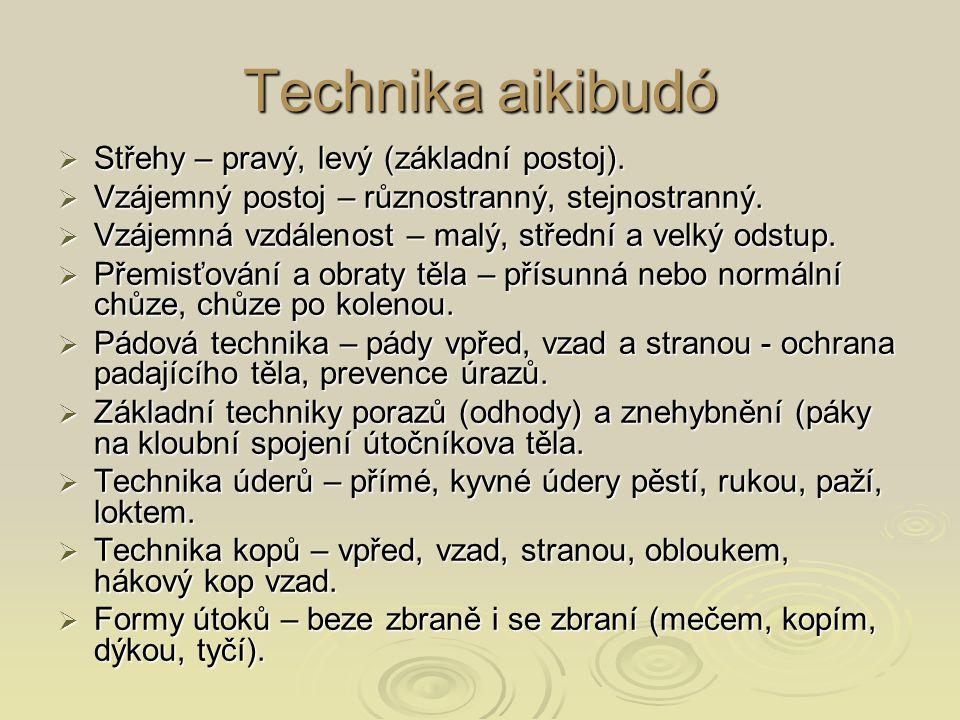 Technika aikibudó Střehy – pravý, levý (základní postoj).