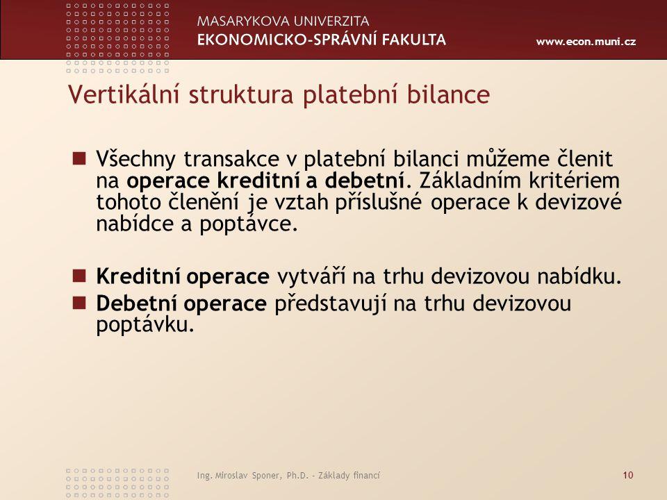 Vertikální struktura platební bilance