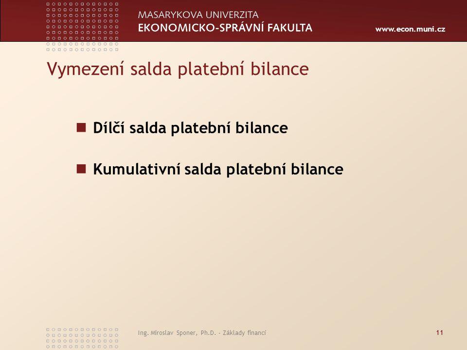 Vymezení salda platební bilance
