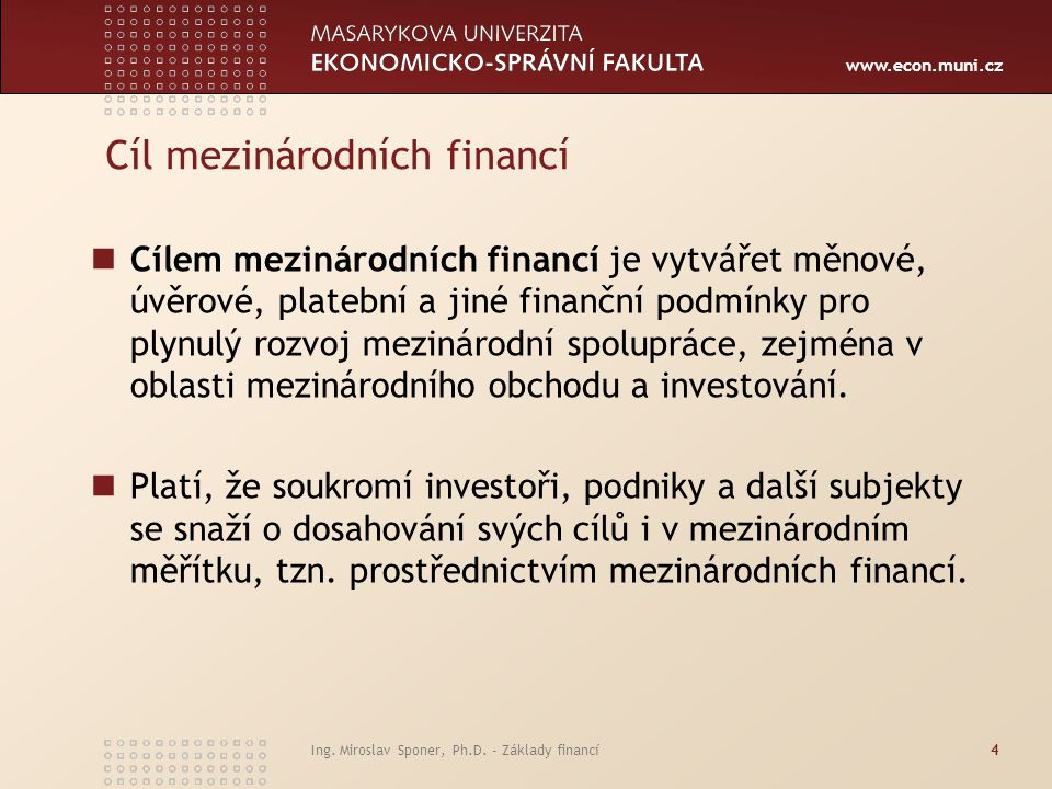 Cíl mezinárodních financí