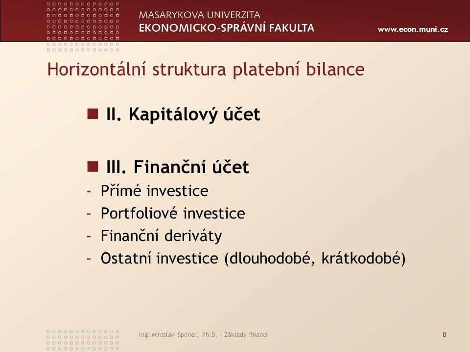 Horizontální struktura platební bilance