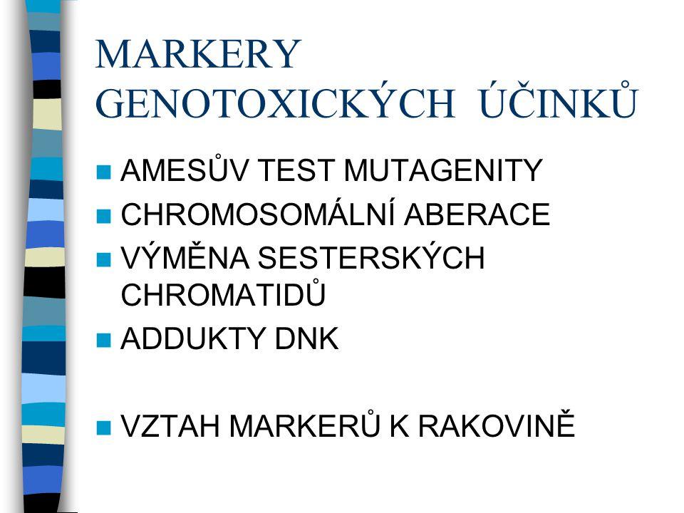 MARKERY GENOTOXICKÝCH ÚČINKŮ