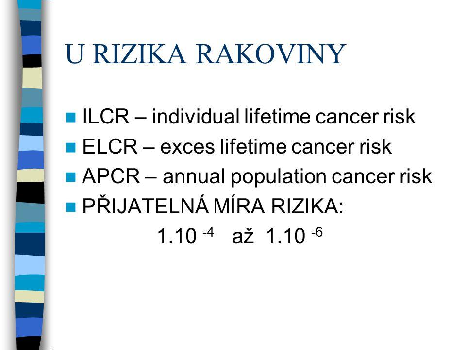 U RIZIKA RAKOVINY ILCR – individual lifetime cancer risk
