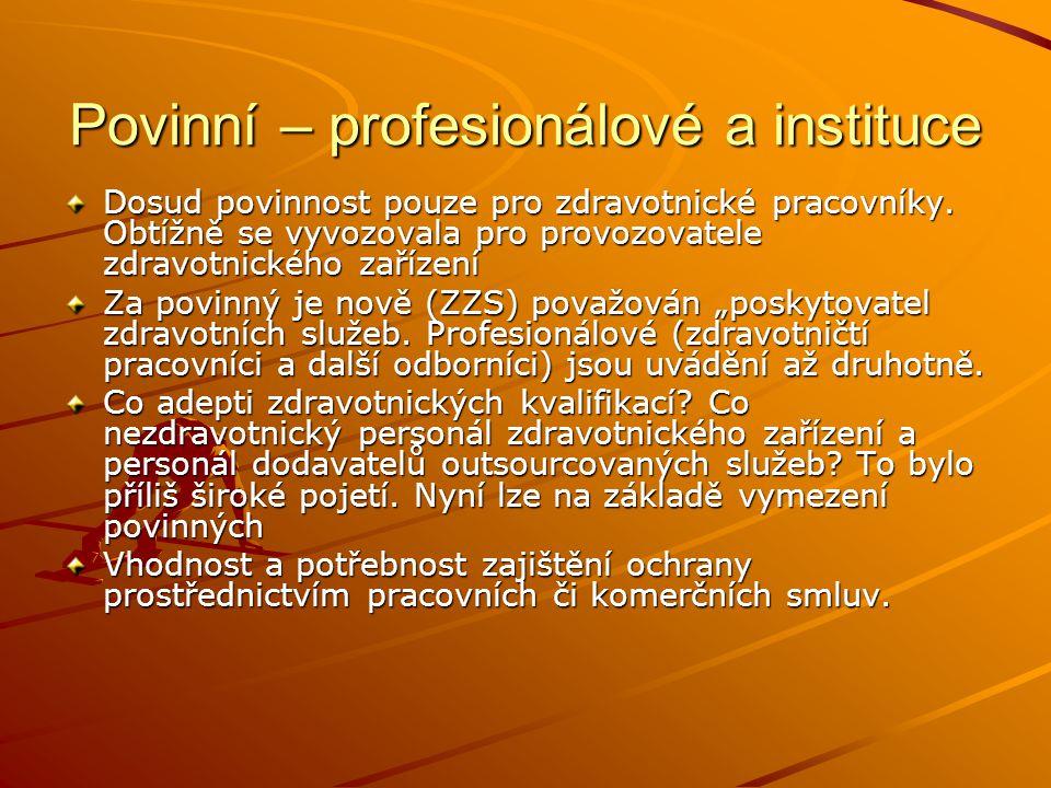 Povinní – profesionálové a instituce