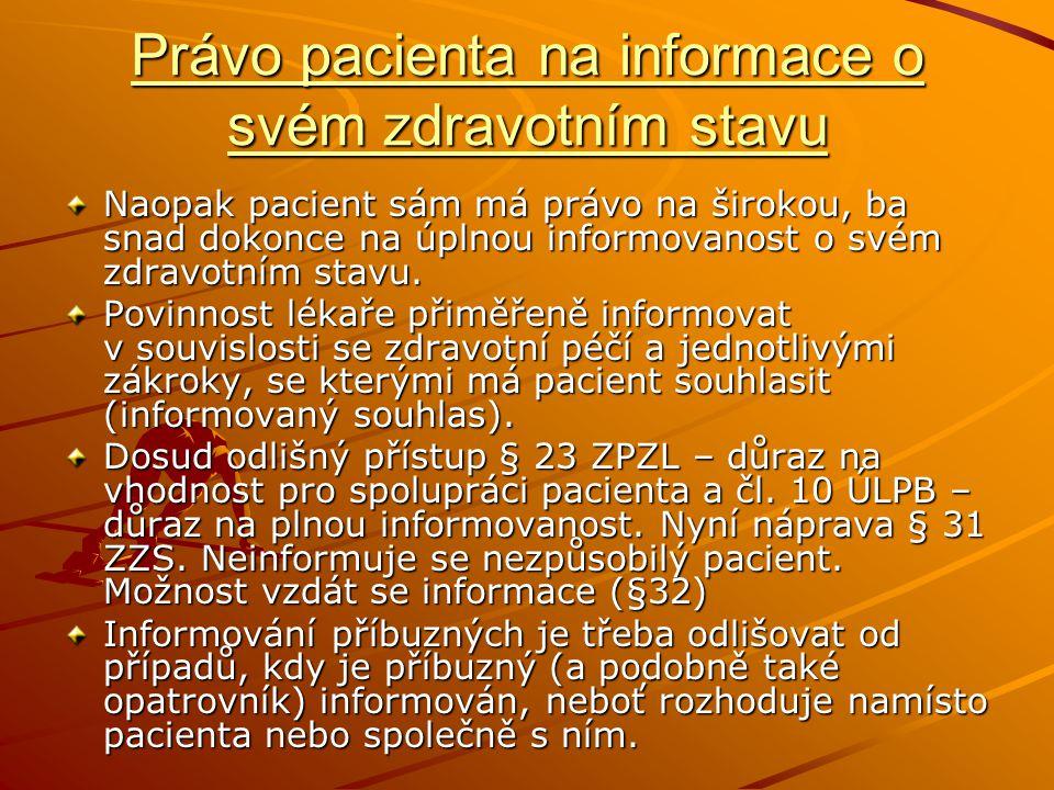Právo pacienta na informace o svém zdravotním stavu