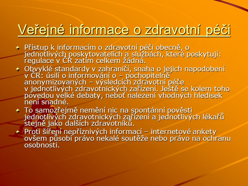Veřejné informace o zdravotní péči