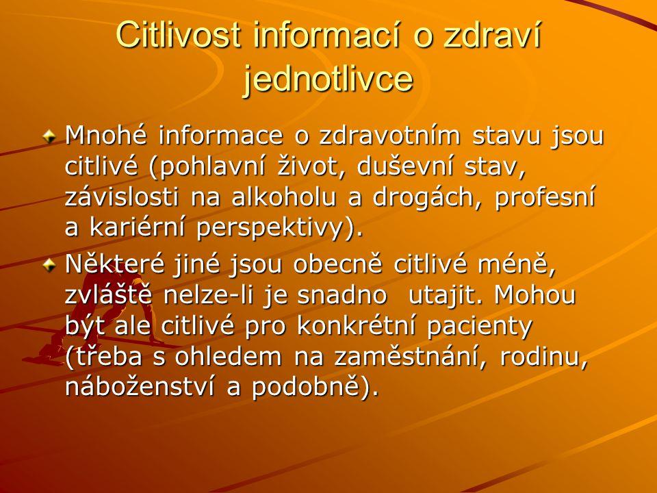 Citlivost informací o zdraví jednotlivce